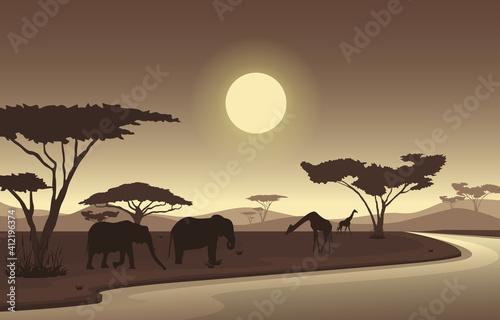 Fototapeta Elephant Giraffe Oasis Animal Savanna Landscape Africa Wildlife Illustration