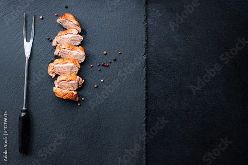 Canvas Print duck breast meat fried poultry barbecue grill portion on the table healthy meal