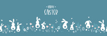 Cute Hand Drawn Easter Horizontal Design With Bunnies, Flowers, Easter Eggs, Beautiful Background, Great For Easter Cards, Banner, Textiles, Wallpapers - Vector Design