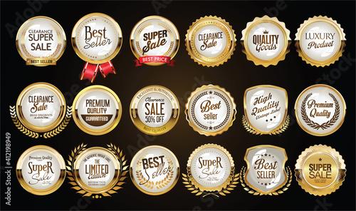 Fotografering Collection of golden badges labels laurels and ribbons