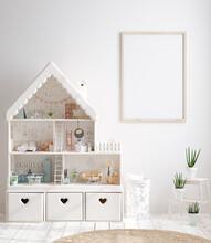Mock Up Frame In Cozy Nursery Interior Background, Scandinavian Style, 3D Render