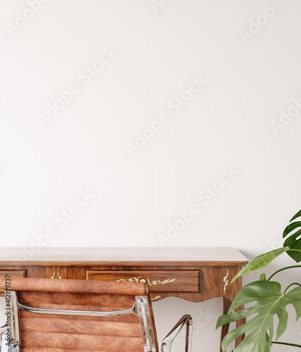 Fototapeta Home workplace close up, wall mockup, 3d render obraz