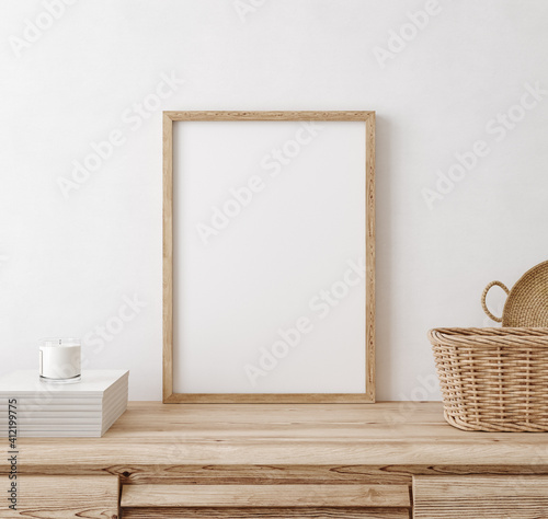 Obraz Mock up frame in home interior background, white room with natural wooden furniture, Scandi-Boho style, 3d render - fototapety do salonu