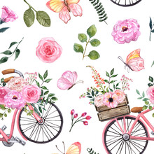 Watercolor Floral Seamless Pattern With Pink Bicycle, Plants And Butterflies. Cute Botanical Print, Spring Blossom Illustration With Bike And Garden Pink Flowers On White Background. Vintage Style
