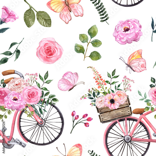 Vászonkép Watercolor floral seamless pattern with pink bicycle, plants and butterflies