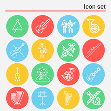 16 Pack Of Seating Room  Lineal Web Icons Set