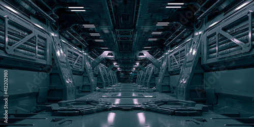 Fotografie, Obraz 3d si-fi facility design, technology concept corridor