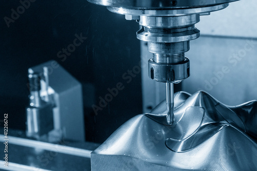 The  CNC  milling machine cutting  the mold parts by solid ball  end-mill tool Fototapet