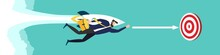 Advantage. Businessman Flying Forward With A Rocket Engine. Business Concept. Way To Success. Achievement Of The Goal. Vector Illustration.