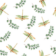 Seamless Vector Pattern With Dragonflies On A Floral Background