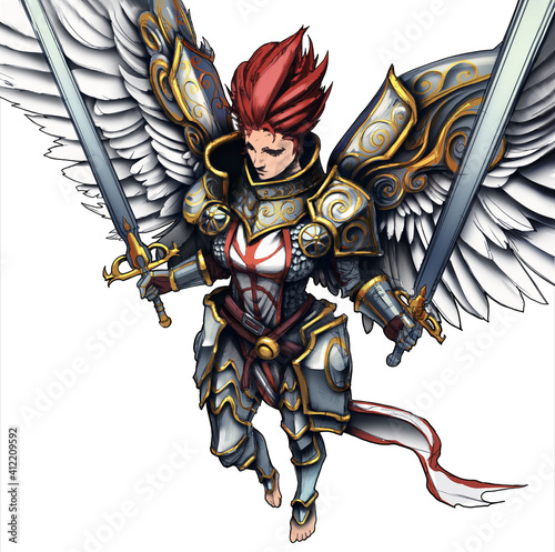 Valokuva Angel girl, she is a knight in beautiful chased armor with two paired swords in her hands, her wings are protected by plates , she soars barefoot in the air