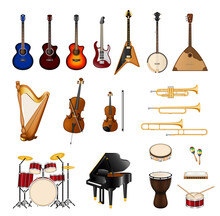 Musical Instruments Pealistic. Different Types Of Musical Instruments Illustration