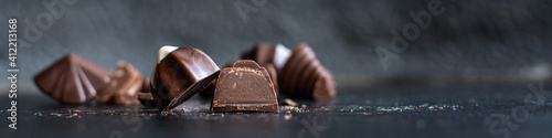 candies chocolate stuffed chocolates truffle sweet dessert ready to eat on the table meal snack top view copy space for text food background rustic image