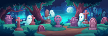 Cemetery With Ghosts At Night, Old Graveyard With Tombstones In Midnight Forest With Cracked Crosses And Monuments, Grave Tombs And Spooky Spirits Halloween Background. Cartoon Vector Illustration