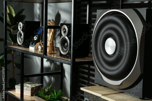 Modern powerful audio speaker system on shelving indoors Wallpaper Mural