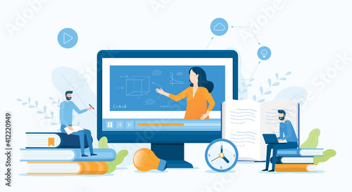 Obraz vector illustration design online education and E-learning at home by webinar training and design for Webinar, online video training, tutorial podcast and business coaching concept.  - fototapety do salonu