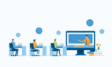 Vector Illustration Design Online Education And E-learning At Home By Webinar Training And Design For Webinar, Online Video Training, Tutorial Podcast And Business Coaching Concept.