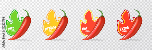 Spicy hot red chili pepper icons set with flame and rating of spicy Fotobehang