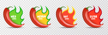 Spicy Hot Red Chili Pepper Icons Set With Flame And Rating Of Spicy. Vector Spicy Food Level Sticker Collection, Mild, Medium Hot And Extra Hot Level Of Pepper Sauce Or Snack Food