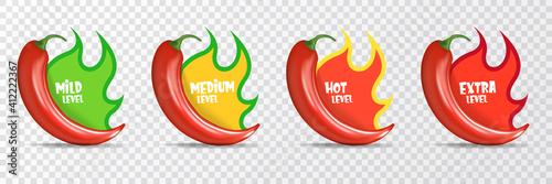 Spicy hot red chili pepper icons set with flame and rating of spicy Fototapeta