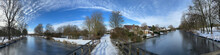 Panorama From A Bridge Over A Frozen Canal In Sneek