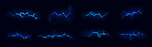 Lightning, Electric Thunderbolt Strike Of Blue Color During Night Storm, Impact, Crack, Magical Energy Flash. Powerful Electrical Discharge, Realistic 3d Vector Bolts Set Isolated On Black Background