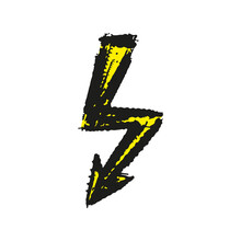 Lightning Icon. Colored Ink Sketch Drawing. Vector Flat Graphic Hand Drawn Illustration. The Isolated Object On A White Background. Isolate.