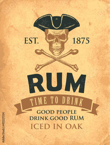 Fototapeta Vector banner with the inscription Rum and the words Time to drink