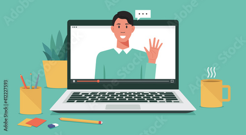 Fotografía webinar online virtual meeting concept, remote working or work from home and any