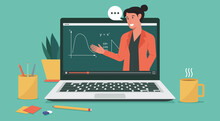 Online Education Or E-laerning, Home School, Woman Teacher Teaching Via Computer Laptop Screen, Distance Learning, Online Course Concept, Vector Flat Illustration