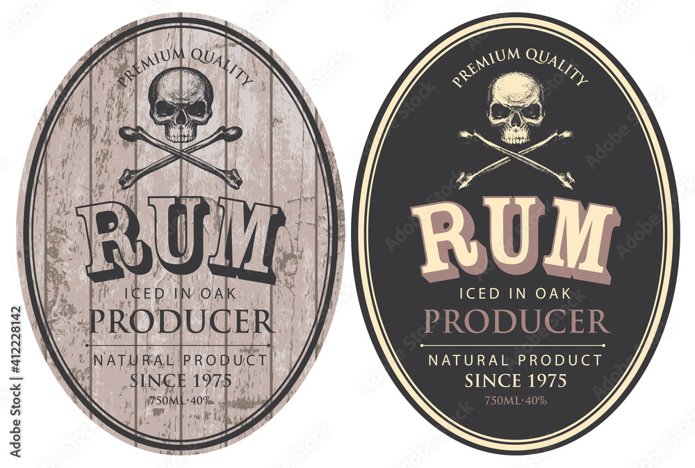 Fototapeta Set of two vector labels for Rum in oval frames with human skulls and crossbones on a wooden and black background in retro style.