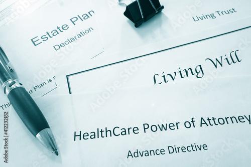 Slika na platnu Estate planning documents :  Healthcare Power of Attorney, Living Trust, Living