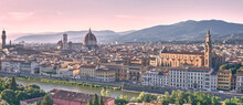 Panoramic View Of Firenze With River Arno, Cathedral Of Santa Maria Del Fiore And Basilica Di Santa Croce. Italy.