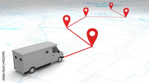 Fotografie, Tablou concept money armor van route on the map