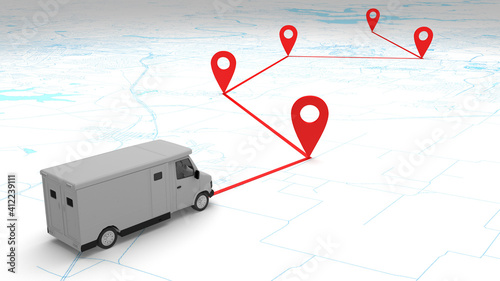 Fotografia, Obraz concept money armor van route on the map