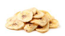 Banana Chips Heap On A White Background. Isolated