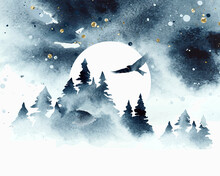 Watercolor Magic Vector Landscape In Blue, Golden And White Colors. Forest With Eagle Under Night Sky With Moon. Hand Drawn Illustration. Watercolor Design For Card, Poster, Banner, Print