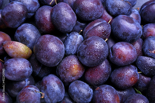 Canvas Print Many ripe plums as background