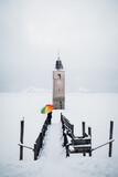 Kirchturm Graun - Reschen - Alpen - Winterlandschaft -Südtirol Italien