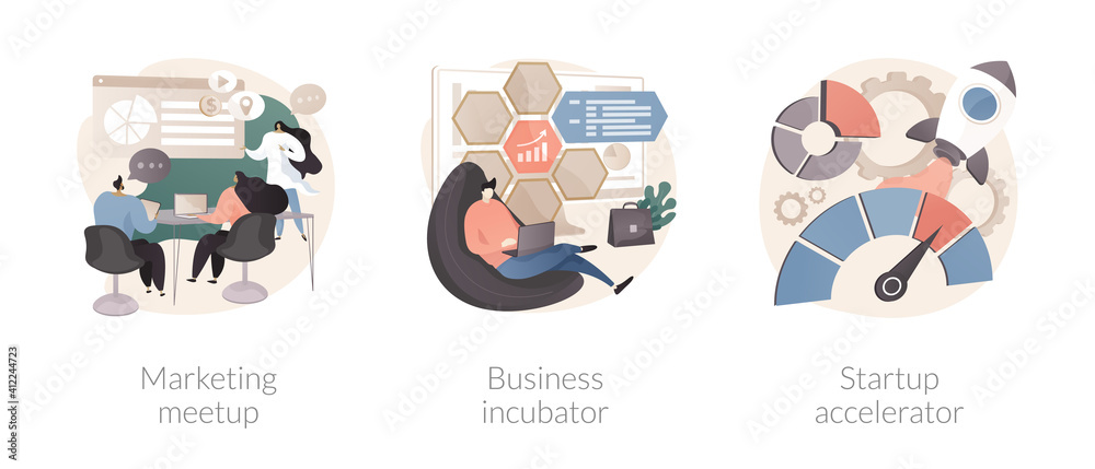 Fototapeta Venture investment abstract concept vector illustration set. Marketing meetup, business incubator, startup accelerator, sharing experience, business internet forum, opportunity abstract metaphor.