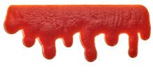 Close-up Of Ketchup Drips Isolated On White