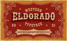 A Vintage Serif Font In Western Style. This Font Looks Better For Short Phrases, Headlines And Can Be Used For Many Creative Products, Such As Shirt Prints, Alcohol Labels,  And Many Other Uses