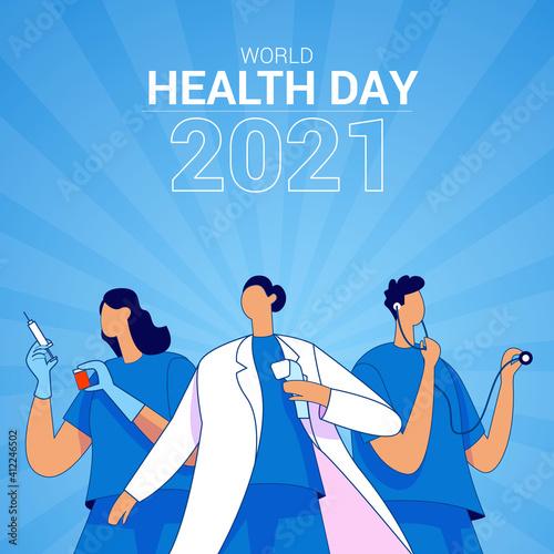 Obraz na płótnie World health day 2021 illustration concept vector