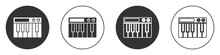 Black Music Synthesizer Icon Isolated On White Background. Electronic Piano. Circle Button. Vector.