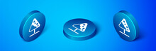 Isometric Road Sign Avalanches Icon Isolated On Blue Background. Snowslide Or Snowslip Rapid Flow Of Snow Down A Sloping Surface. Blue Circle Button. Vector.