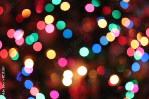 Defocused Image Of Illuminated Colorful Lights