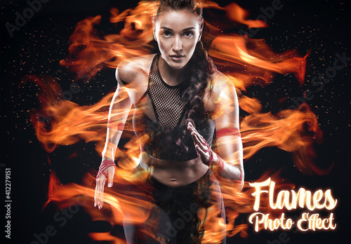 Fototapeta Fire and Flames Photo Effect Mockup obraz
