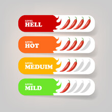 Spicy Hot Red Chili Pepper Banners Or Stickers Set With Flame And Rating Of Spicy. Vector Spicy Food Level Icon Collection, Mild, Medium Hot And Hell Level Of Pepper Sauce Or Snack Food