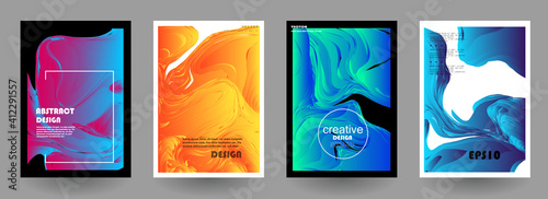 Obraz Modern abstract covers set, Modern colorful wave liquid flow poster. Cool gradient shapes composition, vector covers design. - fototapety do salonu