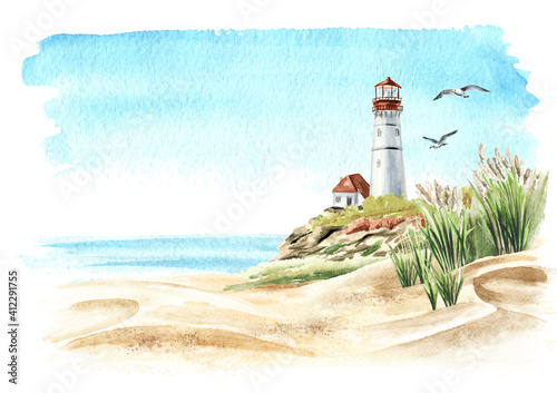 Fototapeta Seascape with rocks and an old lighthouse on the background of the sea with copy space, Hand drawn watercolor illustration, isolated on white background obraz